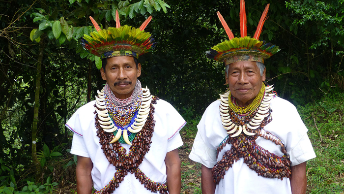 Don Victoriano (left) and Don Laureano (right), Taita Mayor, sage and oldest living Yagé shaman on earth. Carriers of the ancestral Ayahuasca tradition of the Siona people of Colombia.