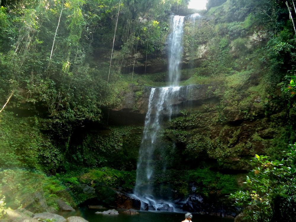 The sacred Hornoyaco waterfall, in the Putumayo jungle of Colombia. Photo © J. Samboni