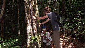 Shamanic ritual with Don Sixto and apprentice by a Remocaspi tree. Photo courtesy: C. Hoyos.