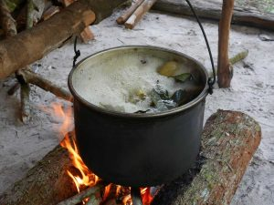 Ayahuasca brew cooking over a traditional wood fire. Photo: C. Hoyos