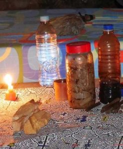 Camalonga brew in a jar, in sugar cane spirit infusion (centre), alongside Ayahuasca (right), and Palo Santo wood incense (left).