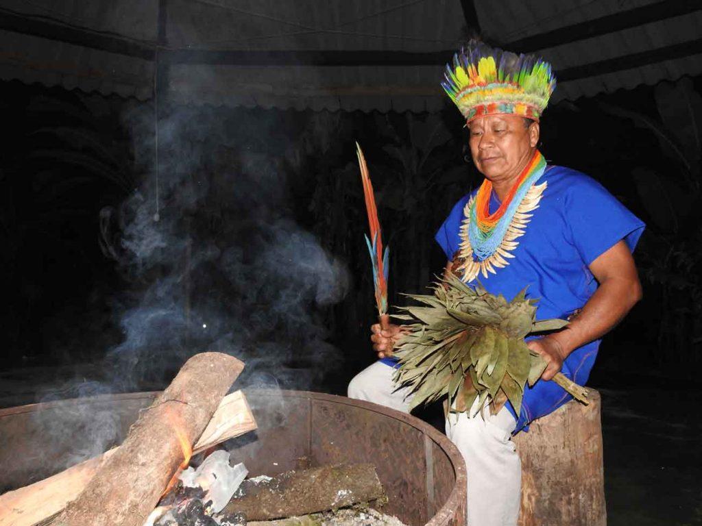 Sacred Yagé ceremony with Taita Gabino, in our Finca in Putumayo (Colombia). Photo: G. Simboni' © El Mundo Magico